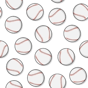 Baseball-nahtloses muster auf einem weißen hintergrund. softball-baseball-sport-symbol-vektor-illustration