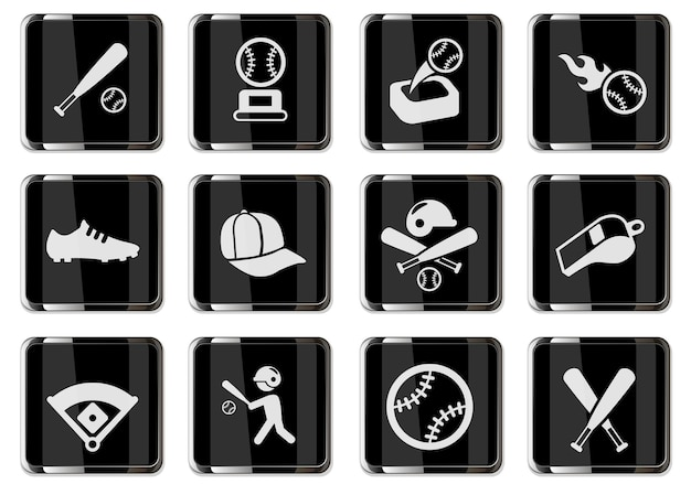 Baseball-piktogramme in schwarzen chromknöpfen. symbolsatz für ihr design. vektorsymbole