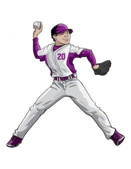 Baseball pitcher in aktion