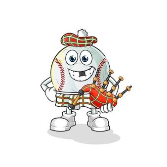 Baseball schottisch mit dudelsack-zeichentrickfigur