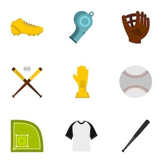 Baseball-set, flachen stil