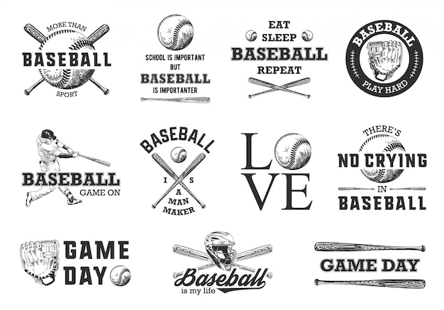Baseball-skizzen mit motivations-typografie