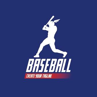 Baseball-spieler-aktion, die den ball trifft baseball-logo-design-illustration