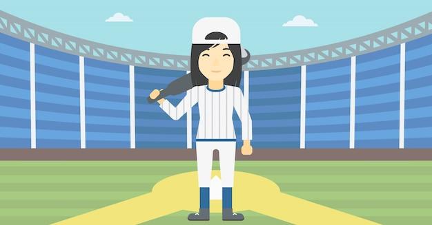 Baseball-spieler mit schlägervektorillustration.