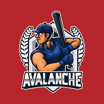 Baseball-spieler schwingen die fledermaus-logo-vorlage