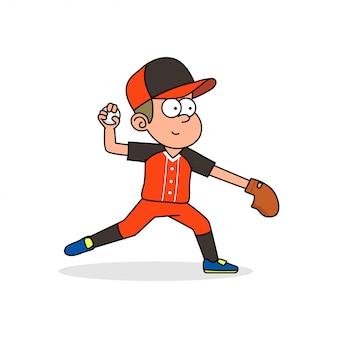 Baseball-spieler werfen ball
