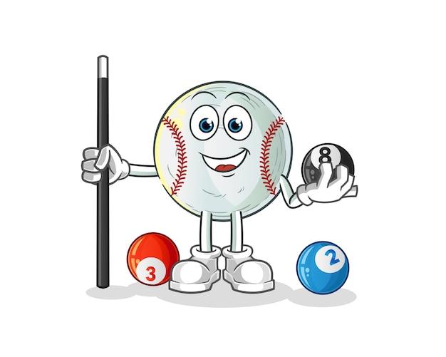 Baseball spielt billardcharakter cartoon maskottchen