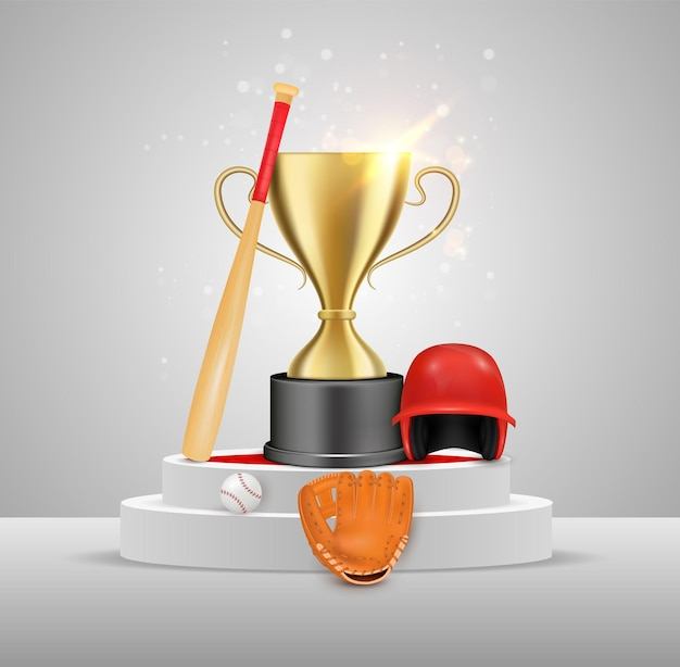 Baseball-sport-spiel-meisterschafts-sieger-trophäe-vergabe-vektor-illustration gold-champion-cup baseball ...