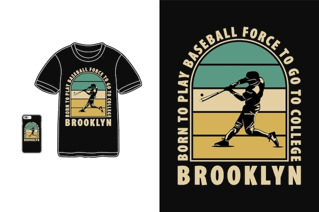 Baseball, t-shirt design silhouette retro-stil