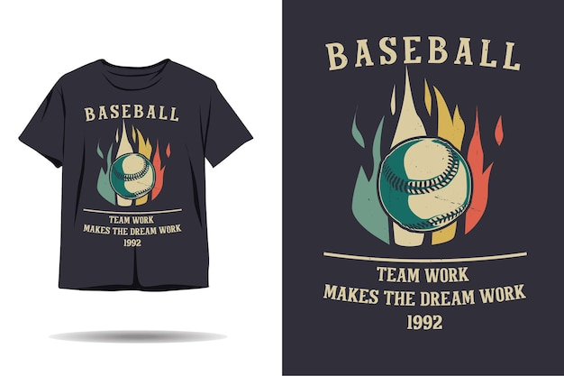 Baseball-teamwork macht das traumarbeits-silhouette-t-shirt-design