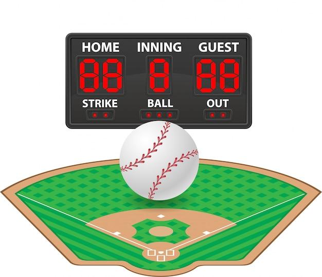 Baseball trägt digitale anzeigetafelvektorillustration zur schau