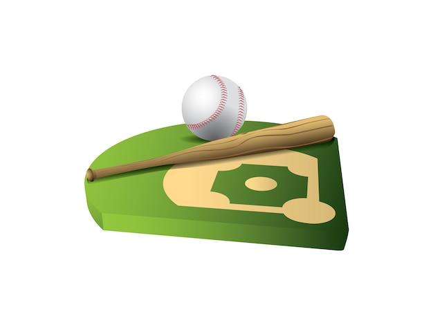 Baseball und schläger auf feld 3d