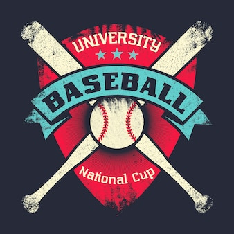 Baseball vintage grunge poster mit schild, sternen, gekreuzten fledermäusen und ball