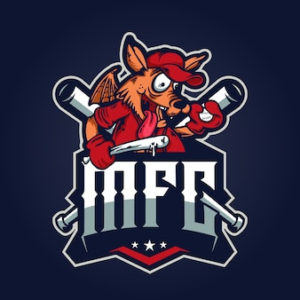Baseball wolf logo illustration