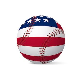 Baseballflagge der usa lokalisiert auf weißem hintergrund.
