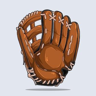 Baseballhandschuh lokalisiert auf weißem hintergrund, baseballausrüstung, illustration mit schatten und lichtern