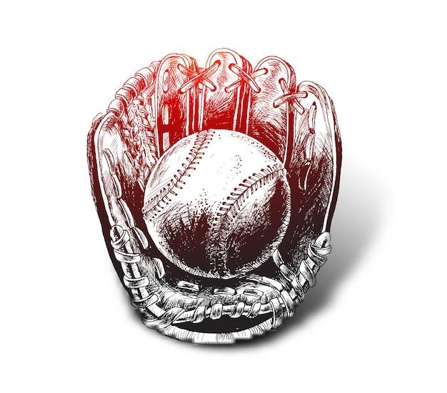 Baseballhandschuh mit ball hand gezeichnete skizze vektor-illustration softball