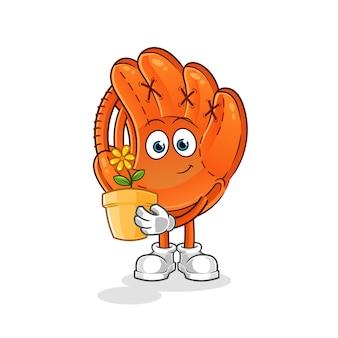Baseballhandschuh mit einem blumentopfkarikaturmaskottchen