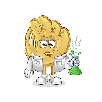 Baseballhandschuh wissenschaftler charakter. cartoon maskottchen