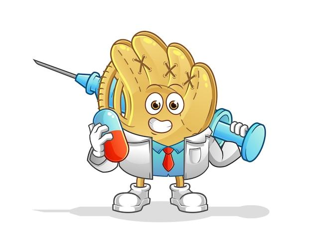 Baseballhandschuharzt hält medichine und injektion. zeichentrickfigur