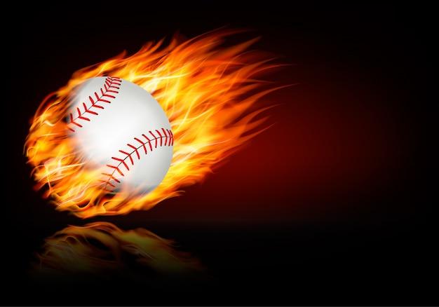 Baseballhintergrund mit einem flammenden ball.