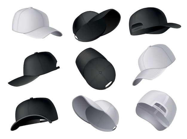 Baseballmützen. realistische baseballkappen-vorlage, vorder-, seiten-, rückansicht. leere modellsporthüte. schwarze und weiße leere kappen isoliert auf weißem hintergrund. leere vorlage von baseball-uniformmützen.