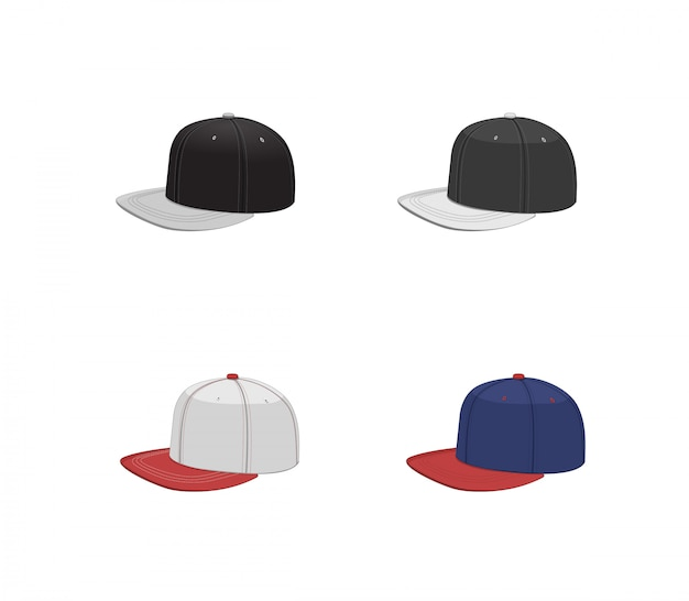 Baseballmützen-sammlung. hip hop design hut set. isolierte vektorillustration