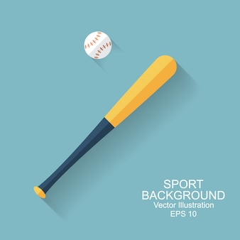 Baseballschläger, ball, ikone mit langem schatten. sport baseball hintergrund. flacher stil, vektorillustration