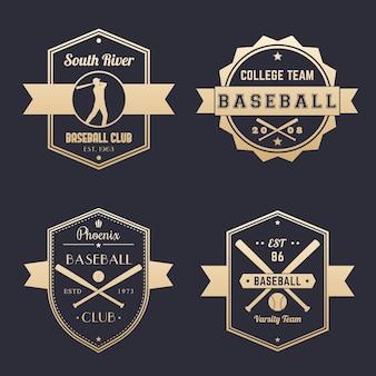 Baseballschläger, mannschaftslogo, abzeichen, embleme, gold auf dunkel