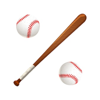 Baseballschläger und bälle getrennt auf weiß