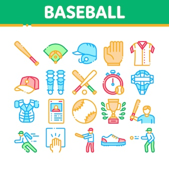 Baseballspiel-werkzeug-sammlungs-ikonen eingestellt