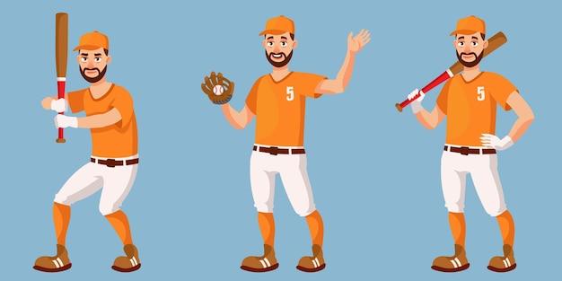 Baseballspieler in verschiedenen posen. männliche person im karikaturstil.