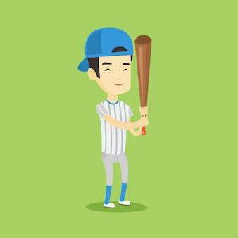Baseballspieler mit fledermausvektorillustration.