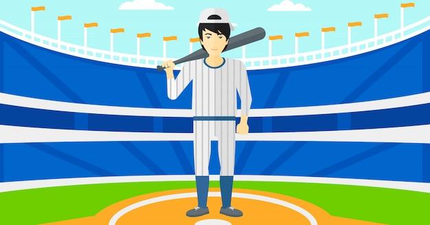 Baseballspieler mit schläger