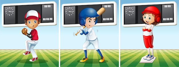 Baseballspieler stehen auf dem feld