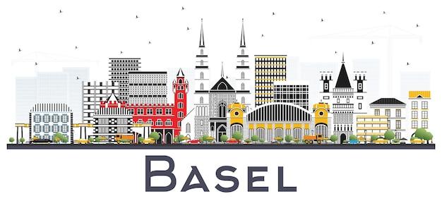 Basel schweiz city skyline mit farbe gebäude, isolated on white. vektor-illustration. geschäftsreise- und tourismuskonzept mit historischer architektur. basler stadtbild mit wahrzeichen.