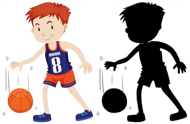 Baskaetballspieler mit seiner silhouette