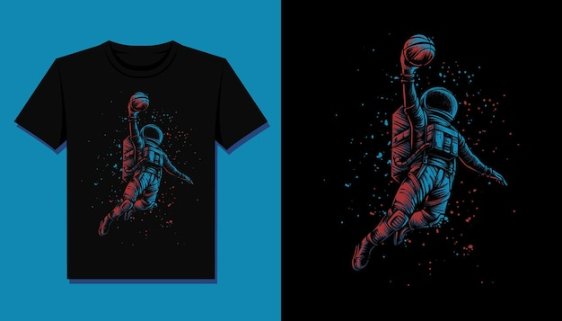 Basketball astronaut t-shirt illustration