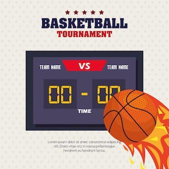 Basketball, etikett, design des basketballballs, flamme mit ball und anzeigetafel
