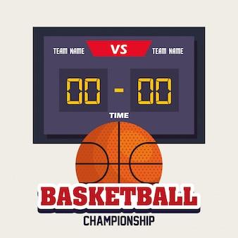 Basketball, etikett, design von basketballball, ball und anzeigetafel