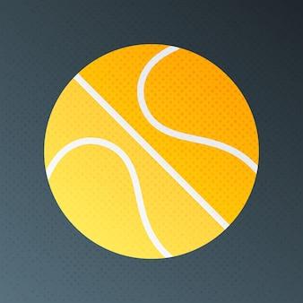 Basketball halbton stilisierte abbildung. flaches schild mit halbtonstruktur