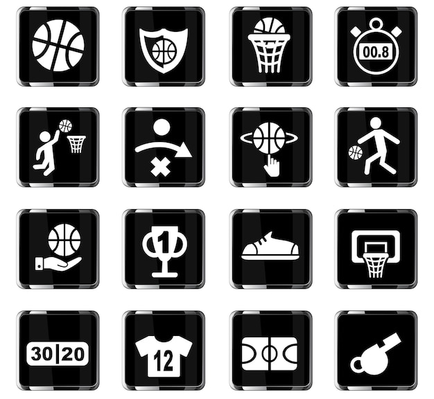 Basketball icon set web icons für user interface design