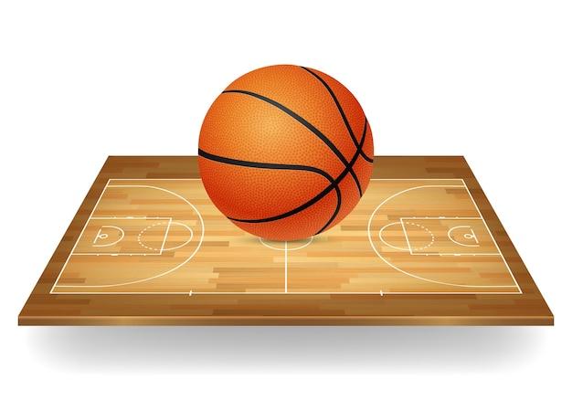 Basketball-ikone - ball auf einem hölzernen platz.