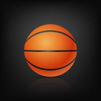 Basketball in der vorderansicht auf einem schwarzen hintergrund