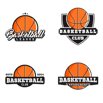 Basketball-logos im modernen stil. logos zum thema liga, verein und turnier.