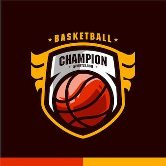 Basketball-meister trägt logovektorschablone zur schau
