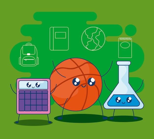 Basketball mit set liefert schule kawaii art
