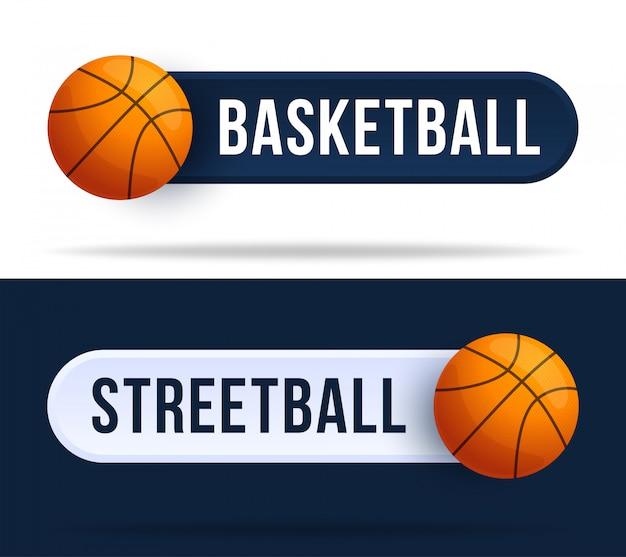 Basketball- oder streetball-kippschalterknöpfe. illustration mit basketballball und webknopf mit text