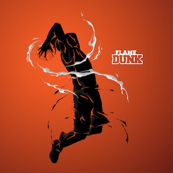 Basketball slam dunk flamme silhouette