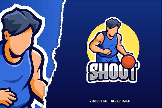 Basketball spieler e-sport spiel logo vorlage Premium Vektoren